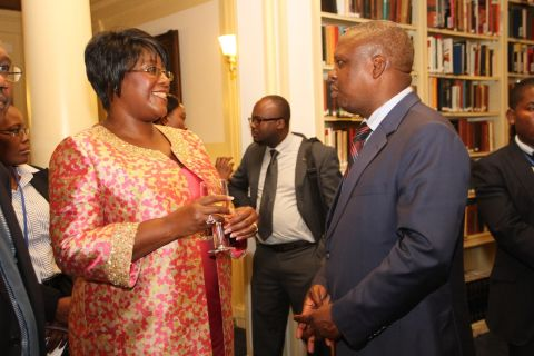 4. First Lady Dr Christine Kaseba discussed with Dr Reuben Kamoto- Mbewe at Yale Club Library where she was inaugurated as the ITU special Envoy for e-Health