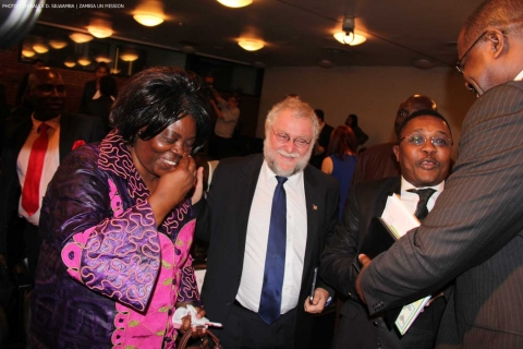 Minister of Tourism and Arts Jean Kapata shares a light moment with Namibia's Minister of Trade and Industry, Carl Schlettwein (second left) and Zimbabwe's Minister of Tourism Walter Mzembi (right) after a panel discussion in New York 8-Sept-2014. PHOTO | Chibaula D. Silwamba | Zambia UN Mission