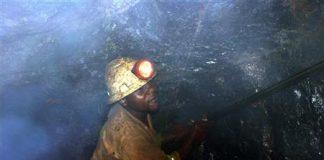 Bright Mutambo, of Konkola Copper Mines PLC, works in Nchanga mine in Chingola, Zambia.