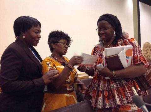Photo - Zambia's Deputy Permanent Representative to UN Christine Kalamwina -left-, Malawi's diplomat to UN Janet Karim and AU Goodwill Ambassador Nyaradzayi Gumbonzvanda -right-