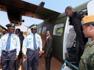 President Sata alights from the Zambia Air Force plane on arrival in Mkushi to drum up support for PF Parliamentary candidate Davies Chisopa on September 6,2014 -Picture by EDDIE MWANALEZA