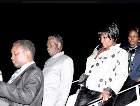 President Sata and First Lady Dr Christine Kaseba alights from the plane at JFK International Airport on arrival in New York for the UN General Assembly on September 20,2014 -Picture by THOMAS NSAMA