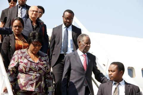 President Sata and First Lady Dr Christine Kaseba alights from the plane on arrival at Kenneth Kaunda International Airport from New York on September 28,2014 -Picture by THOMAS NSAMA