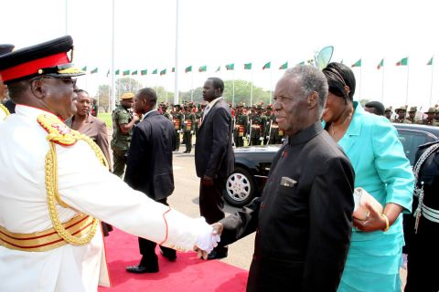 President Sata greets service Chiefs as First Lady Dr Christine Kaseba looks on on arrival at the National Assembly of Zambia for the opening of parliament on September 19, 2014 -Picture by THOMAS NSAMA