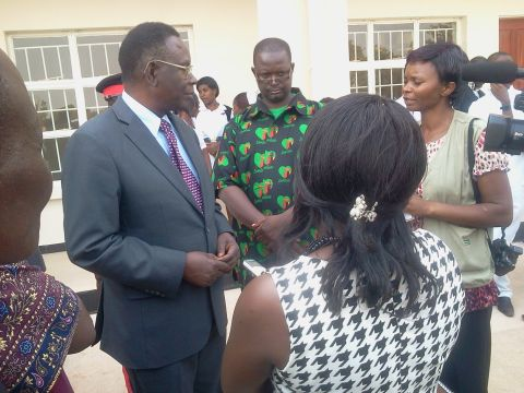 Kasama General Hospital Executive Director Dr. Mutoloki( right) briefing the Minister of Health