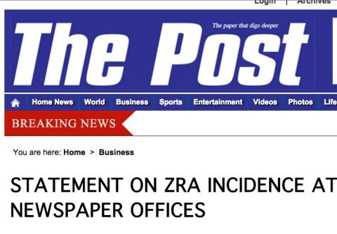 STATEMENT ON ZRA INCIDENCE AT THE POST NEWSPAPER OFFICES