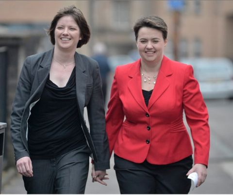 Scottish Conservative Leader Ruth Davidson enters The Glasgow Gaelic school to cast her vote. Picture: Jamie Simpson.