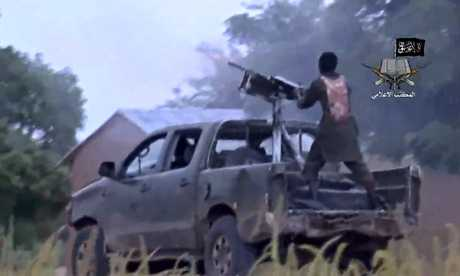 Screengrab released by Boko Haram showing alleged members of the extremist group fighting in Nigeria. Photograph: Ho/AFP/Getty Images