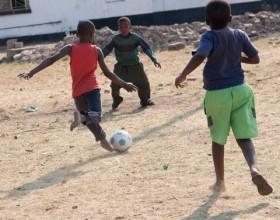 Zambia kids playing soccer