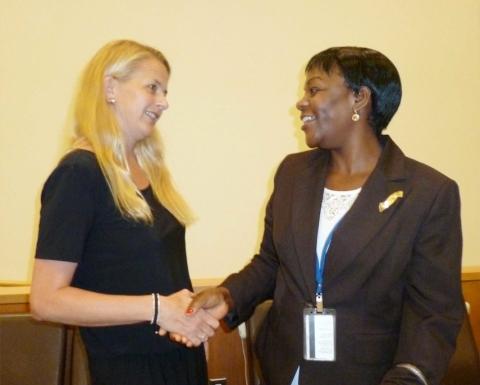 Zambia's Deputy Permanent Representative to the UN Christine Kalamwina and Princess Mabel of Orange-Nassau in The Netherland at UN HQ on Friday 5, September, 2014