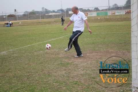 Zanaco MD Dick Bruce trying to control a ball during an exhibition match opposing ZANACO senior management do the Lusaka teachers the game ended on a lone goal draw