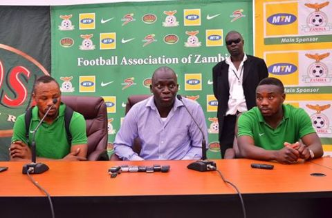 Coach Honor Janza flanked by Stopilla Sunzu and Emmanuel Mayuka addresses the press at Levy Mwanawasa Stadium on Wednesday