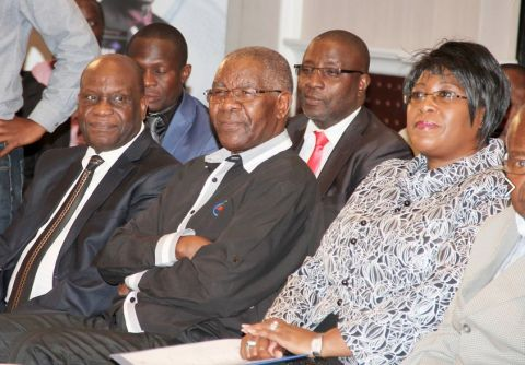 First Lady Dr Christine Kaseba with ZNBC Board Chairperson Dr John Mulwila and ZNBC director of News and current affairs Kenneth Maduma following the proceedings during the 2014 ZNBC: ZICTA Debate Time