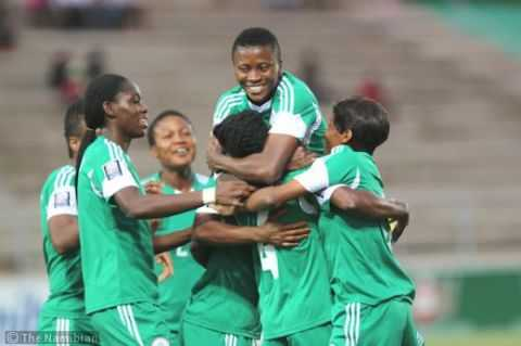 Nigerian players celebrate after Perpetua Nkwocha scored their sixth goal against Zambia