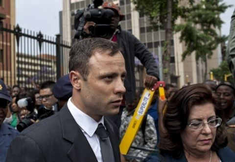 Oscar Pistorius leaves North Gauteng high court on Wednesday. Photograph: Charlie Shoemaker/Getty Images
