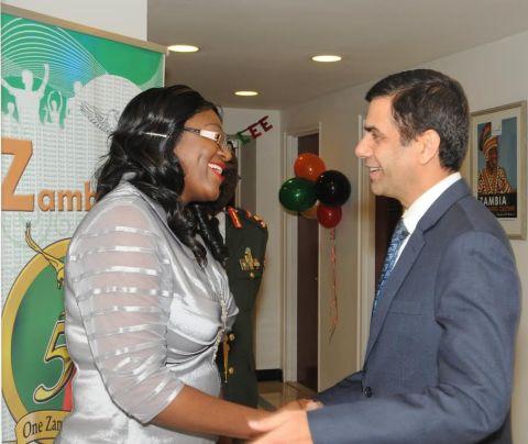 Zambia's Ambassador to the UN Mwaba Kasese-Bota welcomes UN Under Secretary General Gyan Chandra Acharya at the Golden Jubilee reception for Ambassadors at Zambian Mission in New York on 24 October2014. PHOTO| John Oko Nyaku