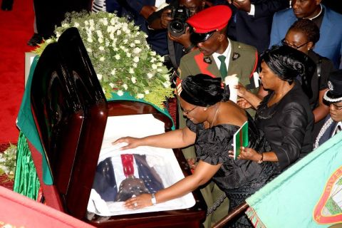 First Lady Dr Christine Kaseba during the Body viewing ceremony of President Sata at Mulungushi International Conference Centre on November 2,2014