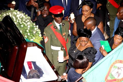 First Lady Dr Christine Kaseba during the Body viewing ceremony of President Sata at Mulungushi International Conference Centre on November 2,2014 -Picture by THOMAS NSAMA