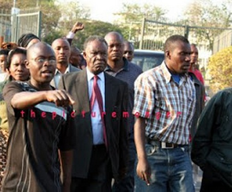 Mr Sata arrives to file his nomination at the Lusaka High Court.