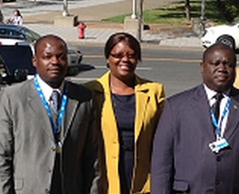 Mr. Robinson Misitala, Managing Director, National Airport Corporation Limited, Ms Sylvia B Chalikosa, Deputy High Commissioner, Canada, Hon. Yamfwa Mukanga MP, Minister of Transport, Works, Supply and Communications
