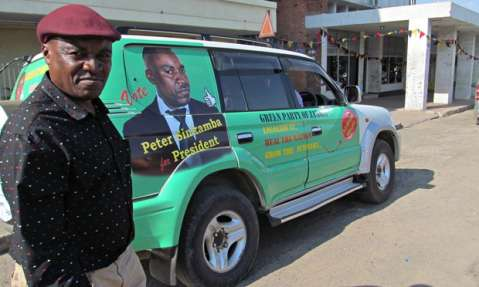 Peter Sinkamba on campaign trail in Chingola city, part of Zambia's copperbelt. Photograph: Courtesy of The Independent Observer