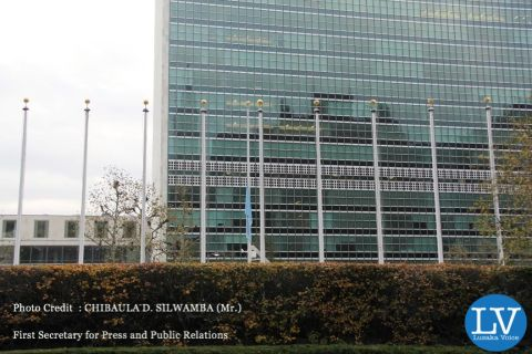 THE WORLD MOURNS SATA: Here the UN flag flying at half-mast while flags for all the 193 Member States are not flying at UN Headquarters in New York in honour of the late President of Zambia Michael Chilufya Sata on 11 November, 2014. PHOTO | CHIBAULA D. SILWAMBA | ZAMBIA UN MISSION