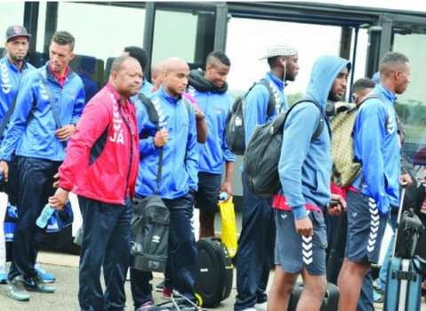 THE blue sharks of Cape Verde arriving at Simon Mwansa Kapwepwe International Airport in Ndola yesterday. Picture by MOSES CHIMFWEMBE