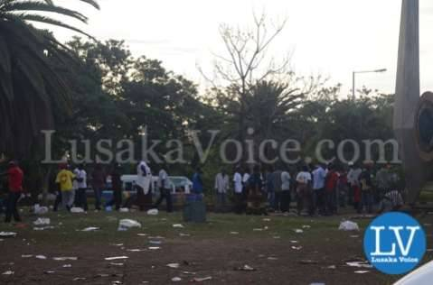 HH Supporters outside Courts in Lusaka
