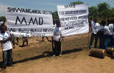 Nevers Mumba's arrival at an airstrip in Chinsali