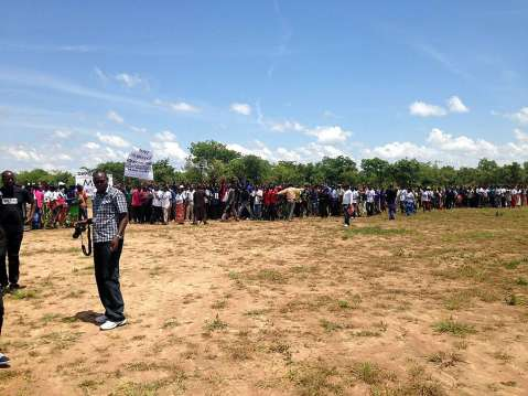 Part of the crowd that welcomed Nevers Mumba at the airstrip in Chinsali