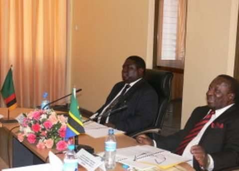 TAZARA File picture: Hon. Yamfwa Mukanga (L), Minister of Transport for Zambia and Hon Harrison Mwakyembe (R), Minister of Transport for Tanzania