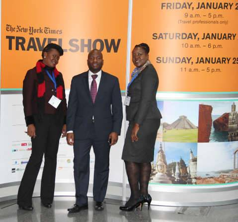 3. L-R. ZTB tourism promotions Manager Angela Chimpinde, Zambia UN Mission Chargé d'Affaires ad interim Chibaula Silwamba and Zambia Tourism Board senior marketing manager Doris Kofi at the New York Travel Show on Friday 23 January, 2015.