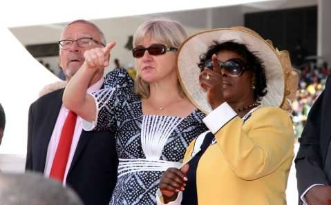 Former Acting President Dr Guy Scott and wife Charlotte with First Lady Esther Lungu (r) during the Inauguration Ceremony of President Edgar Lungu at Heroes Stadium on January 24,2015 -Picture by THOMAS NSAMA