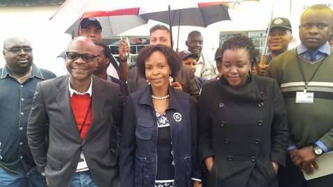 Minister of Foreign Affairs from South Africa and Head of SADC Observer Mission waiting for Hon. Edgar Lungu at Andrew Mwenya Polling Station in John Howard in Chawama