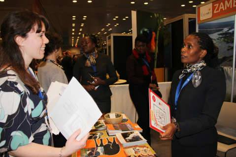 Ministry of Tourism acting principal tourism development and research officer Chilala Habasimbi talking to a visitor at the Zambian stand during the New York Travel Show on Friday 23 January, 2015.