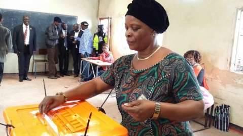 Mrs Esther Lungu casting her vote