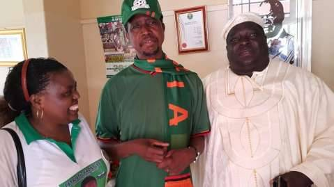 Our boys (Equatorial Guinea) should win. PF President Edgar Lungu, Minister Youth & Sport Chishimba Kambwili and Rachel Chileshe shortly before PF President left for the Copperbelt rallies.
