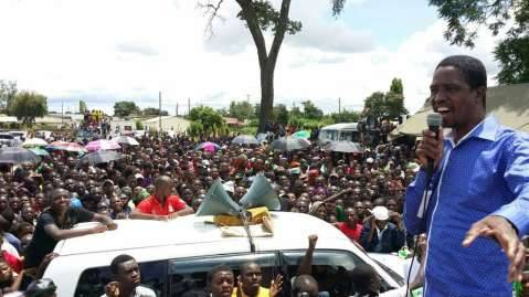 PF President Edgar Lungu addressing Kaoma PF rally in Western Province
