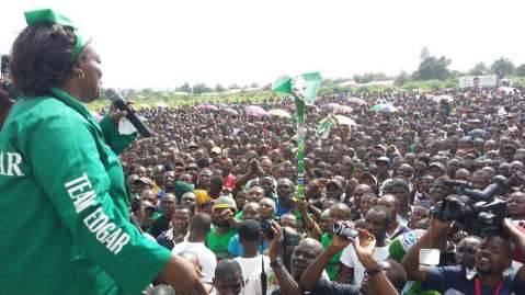PF President Edgar Lungu in a jovial mood addresses the mammoth Solwezi Rally