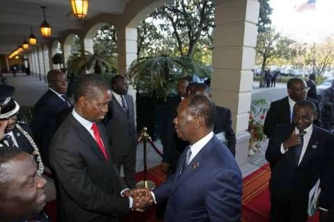 President Edgar Chagwa Lungu (left) welcomes Ivory Coast, President Alesane Quatara at at Sheraton Hotel in Addis Ababa on Thursday,January 29,215. PICTURE BY SALIM HENRY/STATE HOUSE