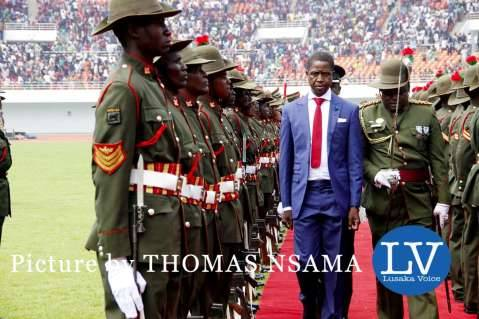 President Edgar Lungu inspects a guard of honour during his Inauguration Ceremony at Heroes Stadium in Lusaka on January 24,2015 -Picture by THOMAS NSAMA - lusakavoice.com
