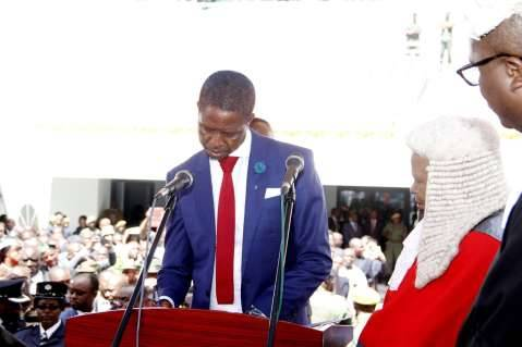 President Edgar Lungu with Acting Chief Justice Lombe Chibesakunda during his Inauguration Ceremony at Heroes Stadium on January 25,2015 -Picture by THOMAS NSAMA