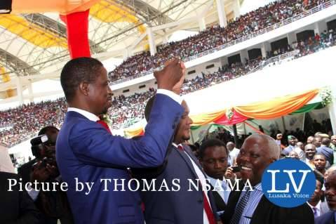 President Edgar Lungu with Commerce deputy minister Miles Sampa during his Inauguration Ceremony at Heroes Stadium in Lusaka on January 25,2015 -Picture by THOMAS NSAMA - lusakavoice.com