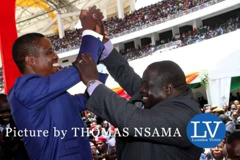 President Edgar Lungu with Sports minister Chishimba Kambwili during his Inauguration Ceremony at Heroes Stadium in Lusaka on January 25,2015 -Picture by THOMAS NSAMA - lusakavoice.com