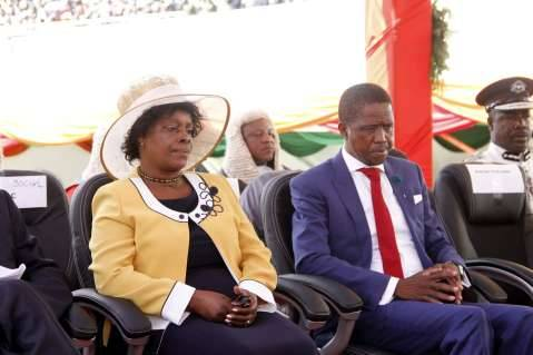 President Edgar Lungu with the First Lady Esther Lungu Chibesakunda during his Inauguration Ceremony at Heroes Stadium on January 24,2015 -Picture by THOMAS NSAMA