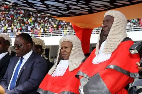 Secretary to the Cabinet Dr Msiska with the Acting Chief Justice Lombe Chibesakunda and Justice Mwanamwambwa during the Inauguration Ceremony of President Edgar Lungu at Heroes Stadium on January 24,2015 -Picture by THOMAS NSAMA