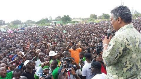 Solwezi Rally underway. Kabwata Member of Parliament Given Lubinda addressing the rally