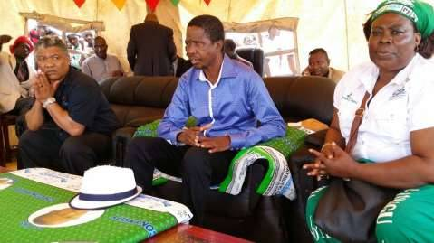The rally begins and President Lungu and His entouraage await their turn here in Lukulu district Western Province 17th January 2015 .