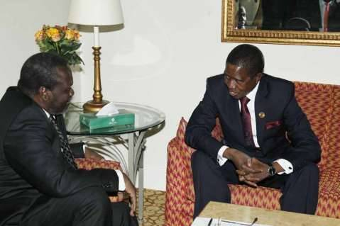 President Edgar Chagwa Lungu (right) talks to South Sudan Rebel Leader Riek Machar during a meeting at Sheraton Hotel in Addis Ababa,Ethiopia on Saturday,January 31,2015. PICTURE BY SALIM HENRY:STATE HOUSE