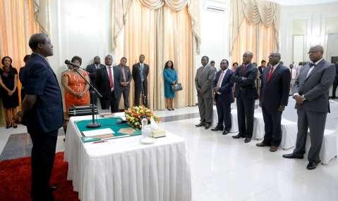 Acting President Ngosa Simbyakula has sworn in five Permanent Secretaries who were recently appointed by President Edgar Lungu.